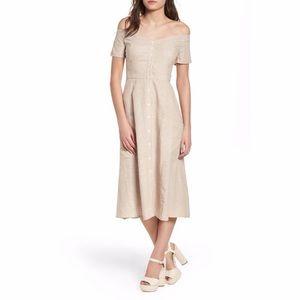 Wayf Perry Linen Blend Off the Shoulder Midi Dress
